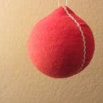Weihnachtsbaumkugel rot aus Stoff